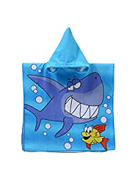 "Hooded Towel for Kids - Aolvo 24""x47"" Poncho Towel Microfiber Quick Dry Beach Towel Cute Swim Towel Unisex Absorbent Bathrobe for 4-10 Years Boys Girls, Perfect for Pool Beach Bath (Shark)"
