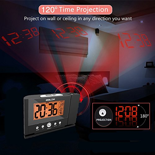 Allegro Huyer Projection Alarm Clock Projection Alarm Clock with Constant Time Projector to Wall, Snooze Clock with Constant Orange Backlight + Adaptor Power Plug