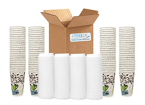 Dixie Grab 'N Go 16 oz Hot Cups with White Lids - 100 Cups, 100 White Lids