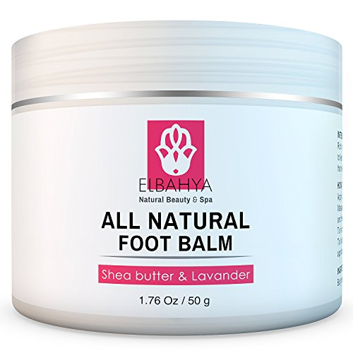 Elbahya Organic Foot Balm with Shea Butter and Lavender Effective Natural Moisturizer for Dry Cracked Feet and Heels. 1.76 Oz (Butter Shea Foot)