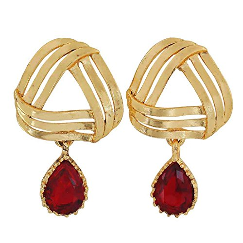 Maayra Designer Earrings Red Golden Dangler Drop Party Jewellery by Maayra