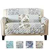 Great Bay Home Patchwork Scalloped Stain Resistant Printed Furniture Protector Brand. (Loveseat, Grey)