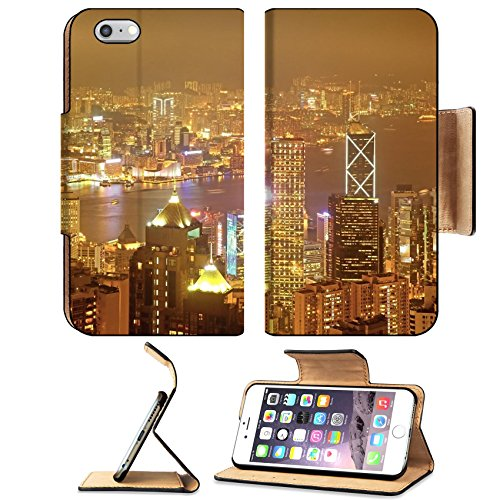 Liili Premium Apple iPhone 6 Plus iPhone 6S Plus Flip Pu Leather Wallet Case Hong Kong at night Golden town - Shops Town Harbour At