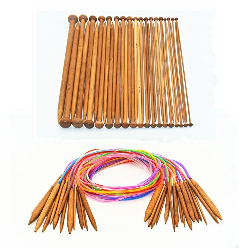 Bamboo Circular Knitting Needles Set with 47