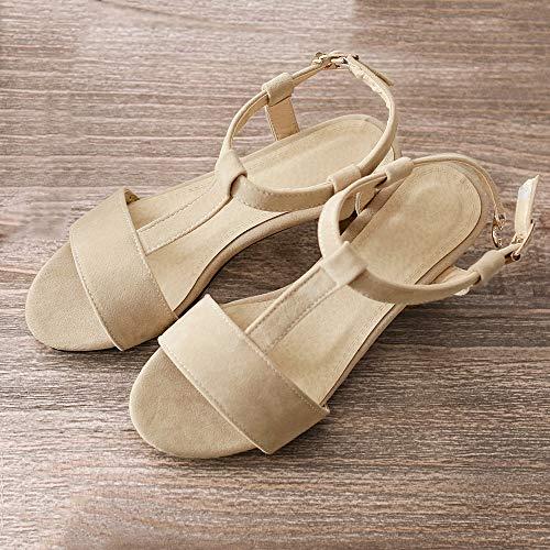 Redondos Zapatos Tacones Strap Sandalias T Mujer para De Beige Verano wOXYExv