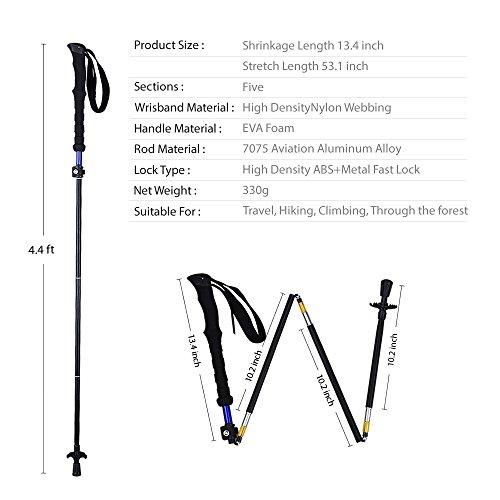 Pantan Aluminum Alloy Trekking Poles Pack of 2, Tungsten Carbide Tips, Ultralight, Folding, Adjustable Height, Anti-Shock,Ideal forTravel, Hiking, Walking and Climbing (Black)