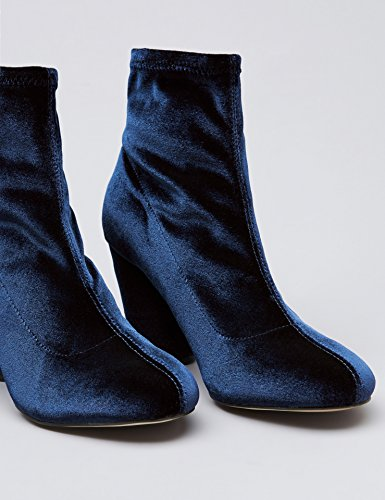 Women's Velvet Boots Stretch Navy Blau Ankle FIND Odwq5O
