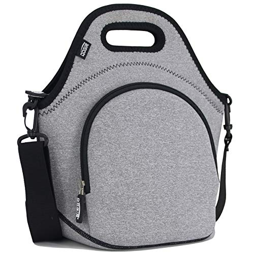 QOGiR Insulated Neoprene Lunch Bag Tote with Zipper Pocket & Strap - Large 12