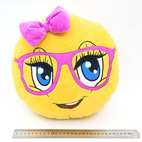 WEP Cute Girl with Pink Glasses Emoji Pillow Smiley Emoticon Cushion Stuffed Colorful Plush Toy 32cm New