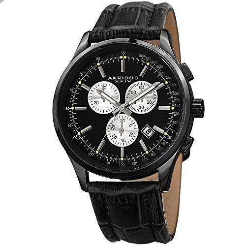 Akribos XXIV Enterprise Mens Casual Watch - Glossy Dial - Chronograph Quartz - Leather Strap - Black (Glossy Dial Black)