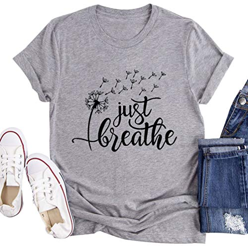 Flovex Women's Graphic T-Shirts Casual Summer Short Sleeve Funny Just Breathe Dandelion Mountain Tee Shirts