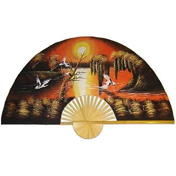 1 x large 60 folding wall fan prosperity blossoms