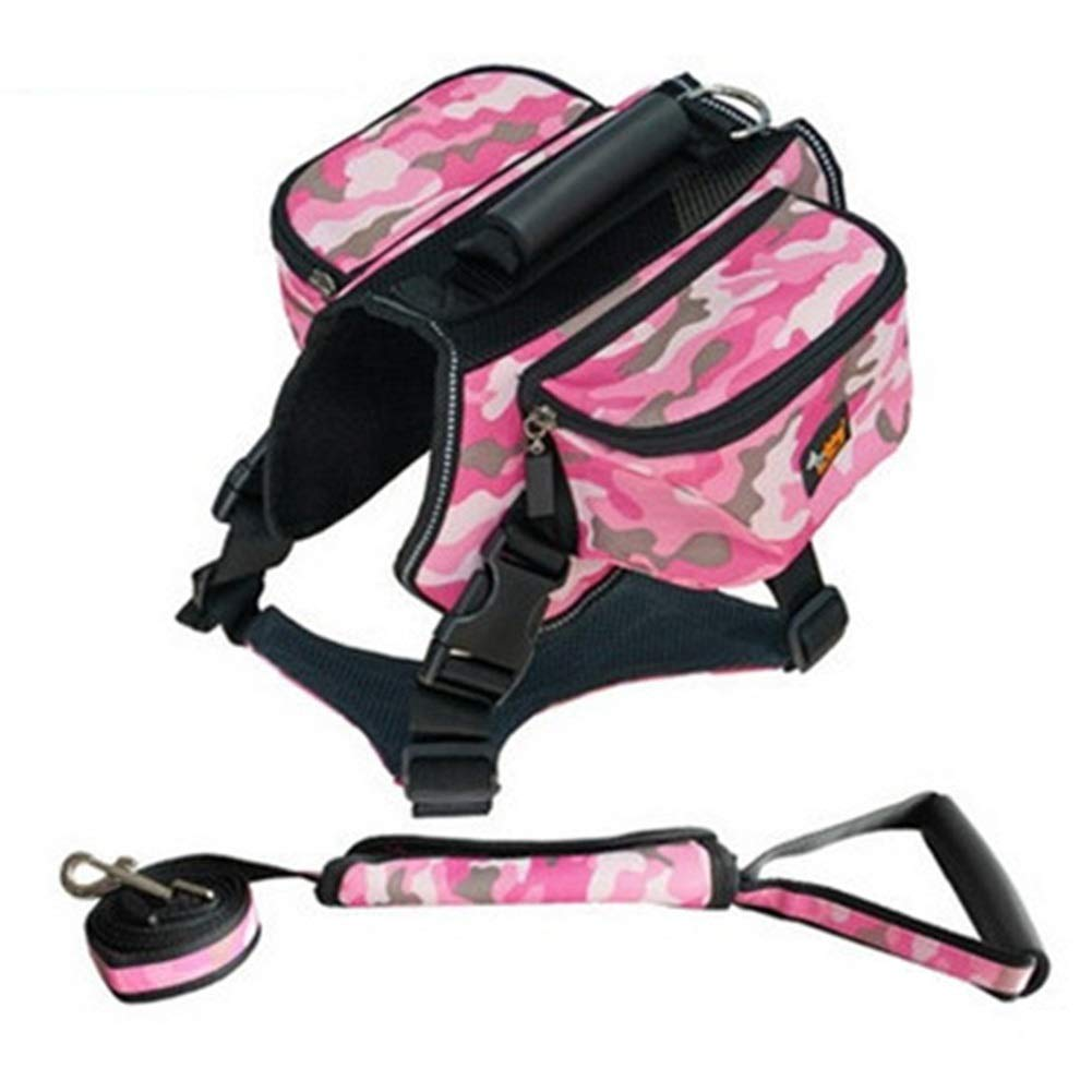 Camouflagepowder XL camouflagepowder XL Dog Pack Harness Saddle Bag Reflective Strip Dog Pack with Leash for Outdoor Travel Training Camping Hiking