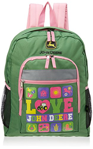 John Deere Green 16 inch Backpack (Girls/Kids/Teen) (John Water Bottle Deere Kids)