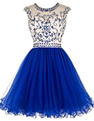 Tideclothes ALAGIRLS Beaded Prom Dress Short Tulle Homecoming Dress Hollow Back