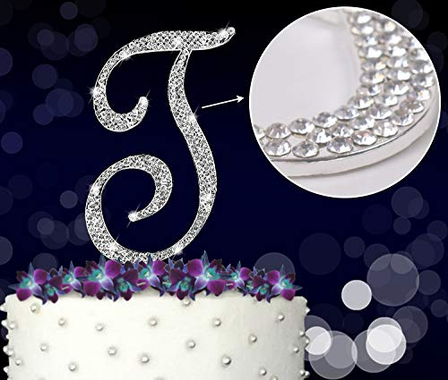 letter t initials happy birthday cake topper wedding anniversary vow renewal crystal rhinestones on silver metal party decorations favors