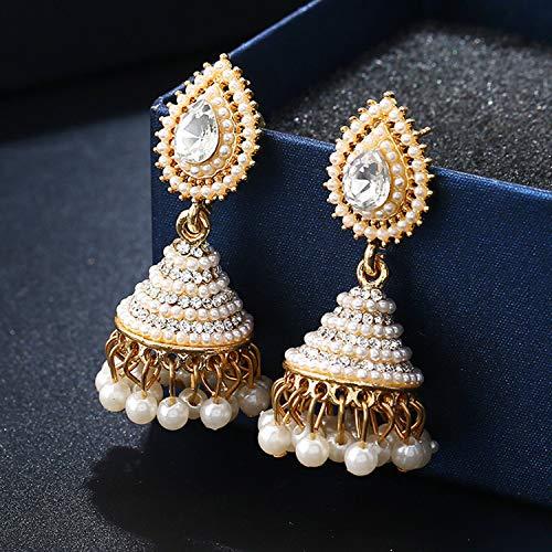 Drop Dangle Earrings for Wedding Party, Jewelry Water Droplet Shape KC Gold-plated Pearl Crystal Earrings for Women]()