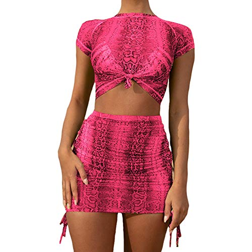 Dragon Honor Women Sexy Snakeskin Print Crop Top Lace Up Mini Skirt Outfit 2 Pieces Neon Bodycon Clubwear Dress (M, Pink)