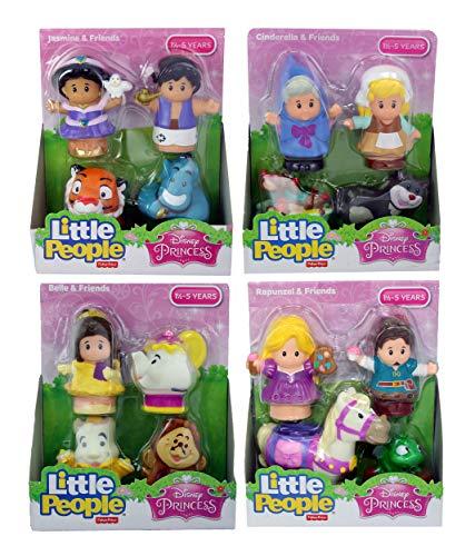 (Fisher Price Little People Disney Princess & Friends Figure Set of 4 - Belle, Cinderella, Jasmin & Rapunzel)