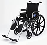 "Medline Lightweight and User-Friendly Wheelchair with Flip-Back, Desk-Length Arms and Elevating Leg Rests for Extra Comfort, Gray, 18"" Seat, Black"