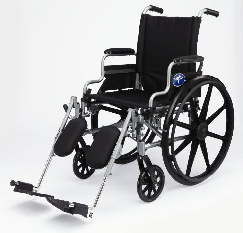 "Medline Lightweight and User-Friendly Wheelchair with Flip-Back, Desk-Length Arms and Elevating Leg Rests for Extra Comfort, Gray, 18"" Seat, ()"