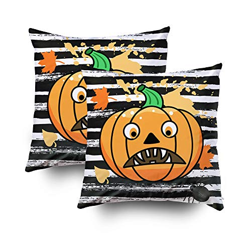(GROOTEY Decorative Cotton Square Set of 2 Pillow Case Covers with Zippered Closing for Home Sofa Decor Size 18X18Inch Costom Pillowcse Throw Cover Cushion,Halloween Halloween Pumpkin a Scary)