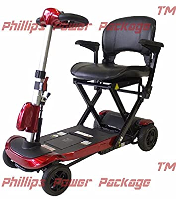 Solax Mobility - Genie+ Automatic Folding Scooter - 4-Wheel - Red - PHILLIPS POWER PACKAGE TM - TO $500 VALUE