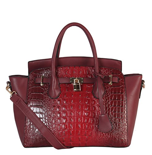 Diophy PU Leather Large Solid Crocodile Pattern Front Lock Trapeze Tote (Faux Crocodile Handbag)