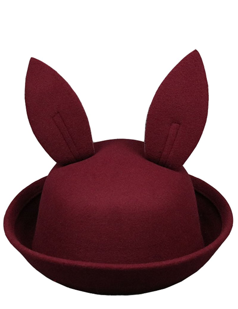 Lujuny Easter Bunny Ear Bowler Hat - Cute Wool Derby Rabbit Cap with Roll-up Brim for Petite Women Youth (Burgundy) by Lujuny
