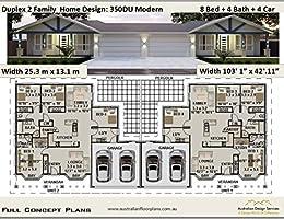 Amazon.com: Duplex 2 Family House Plan 350DU Modern- 8 ...