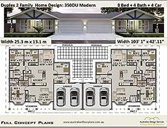 Duplex 2 Family House Plan 350DU Modern- 8 Bedroom 4 Bathroom ...