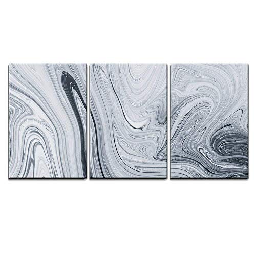 wall26 - 3 Piece Canvas Wall Art - Abstract Pattern, Traditional Ebru Art. Painting on Water, Followed by Paper Prints. - Modern Home Decor Stretched and Framed Ready to Hang (Abstract Modern Print)