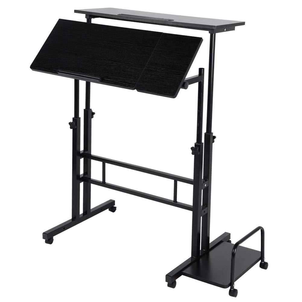Mobile Stand Up Desk, Adjustable Height Stand Up Desk Computer Workstation Desk Sitting Standing Desk Laptop Cart Home Office Desk (with PC Tower Tray)