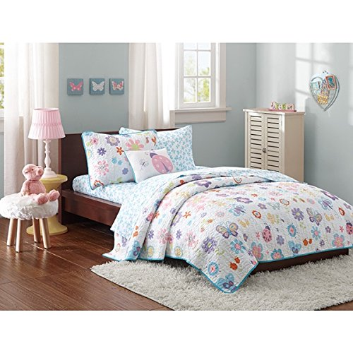 Mizone Girls 8-piece Cute Floral Butterfly Coverlet Set. Choose Multi Colored Twin or Full. Kids Bedding Set