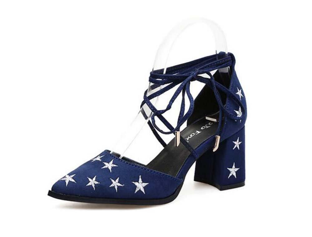 Frauen Pump 7cm Chunkly Ferse Spitz D'Orsay Ankel Straps Court Schuhe Einfache Stickerei Stern Cross Strap Bowknot Kleid Schuhe Roma Schuhe Eu Größe 34-40