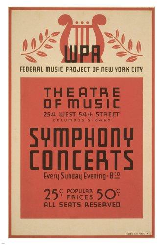 Amazon com: NYC SYMPHONY CONCERTS vintage 1941 poster 24X36