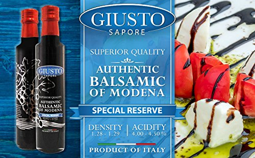 Giusto Sapore Superior Dark Balsamic Vinegar of Modena 8.5oz - Premium Italian Gluten Free Gourmet Brand - Imported from Italy and Family Owned 3 FAMILY MADE: Premium gourmet dark balsamic vinegar brand that is imported and made in Italy. ORIGIN: Balsamic of Modena vinegars are made following a traditional recipe. FLAVOR: The dark balsamic vinegar is aged in wooden barrels for superior flavor.