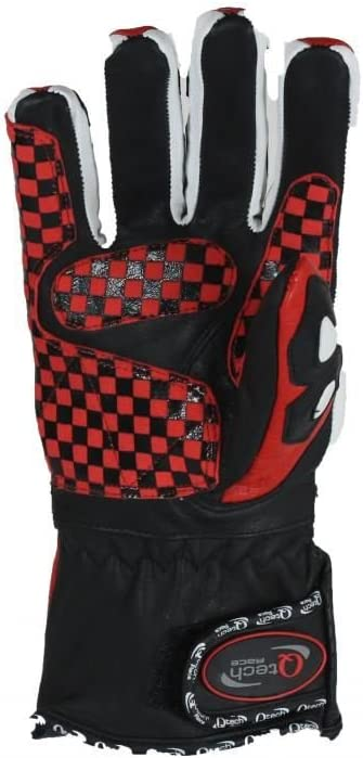 Large Qtech Pro Bikers Motorcycle Riding Multi-Toned GLOVES Sports for Street Biker /& Urban Touring with Long Cuff Protected Knuckle Red /& Black
