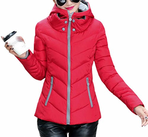 today Parka Winter Red Fit Hooded Coat Slim Full Jackets UK Women Down Thicken Zip PqEwAxPrF