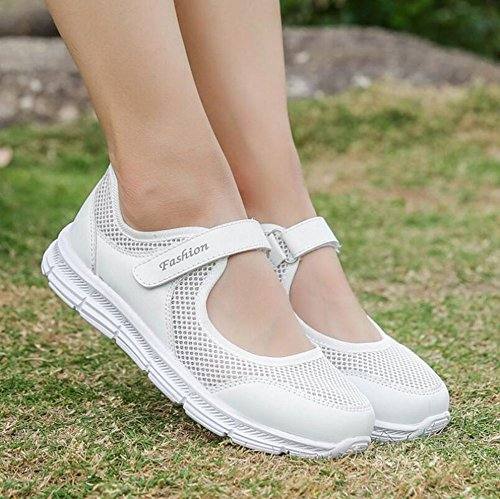 HUAN Women's D Shoes Healthy 38 Shoes Color Flat Summer Step Middle Breathable Non Shoes Slip Mom Tulle Loafers Size Aged Walking ddUrafqw