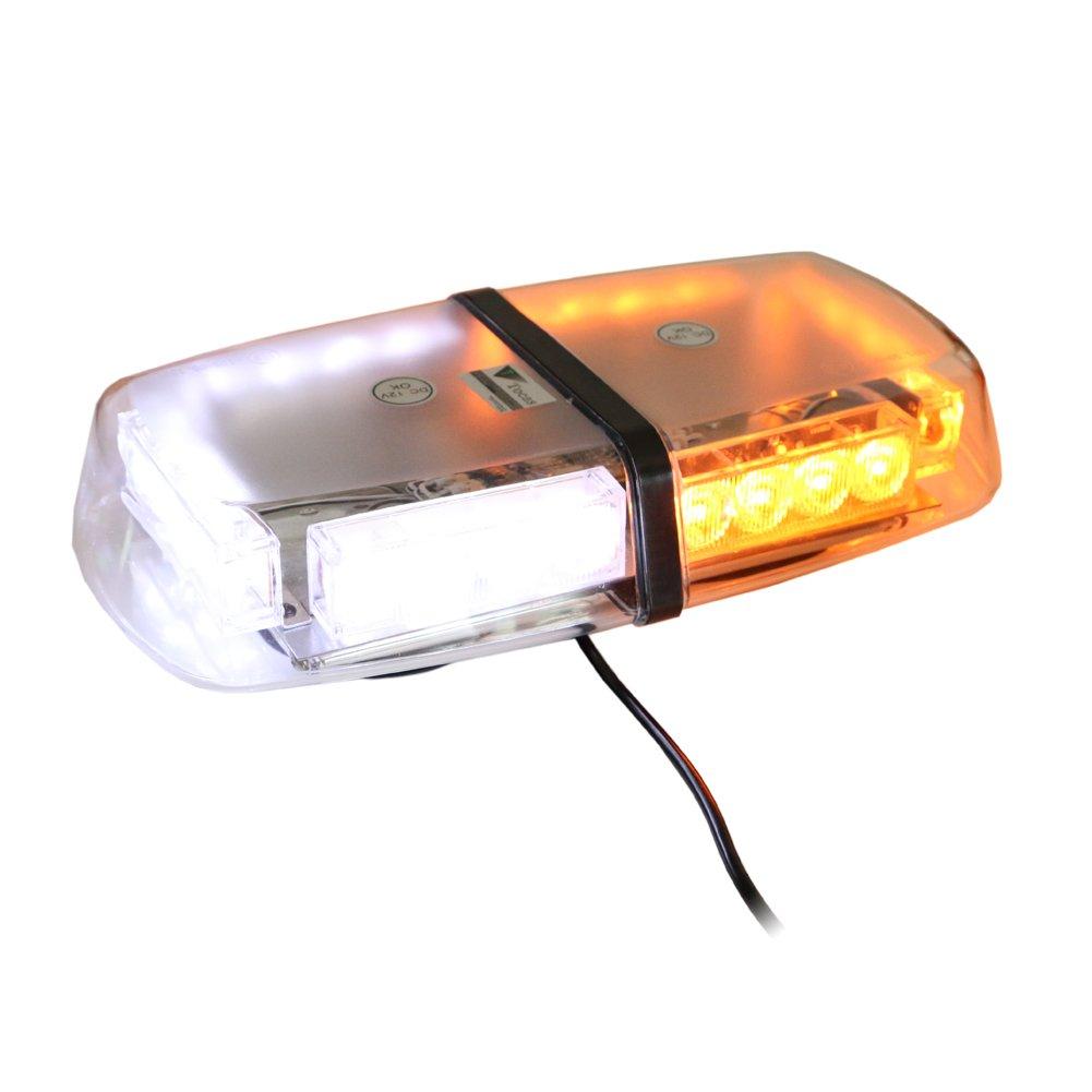 T Tocas (tm) Lumineux 24 LED Strobe Beacon à base magnétique, Avertissement Mini Bar Feux de détresse pour voitures SUV Bateau Toit, DC12V (Ambre et Blanc) Avertissement Mini Bar Feux de détresse pour voitures SUV Bateau Toit