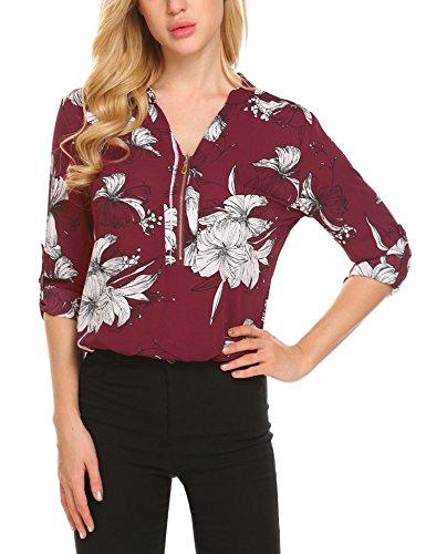 SE MIU Women Casual Half Sleeve Print Chiffon Business Blouse with Zipper, Wine Red, (Chiffon Print Blouse)
