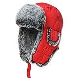 Unisex Faux Fur Lined Trapper Hat Warm Windproof Winter Russian Hats Thick Warm Ski Cap Earmuffs Aircraft Cap