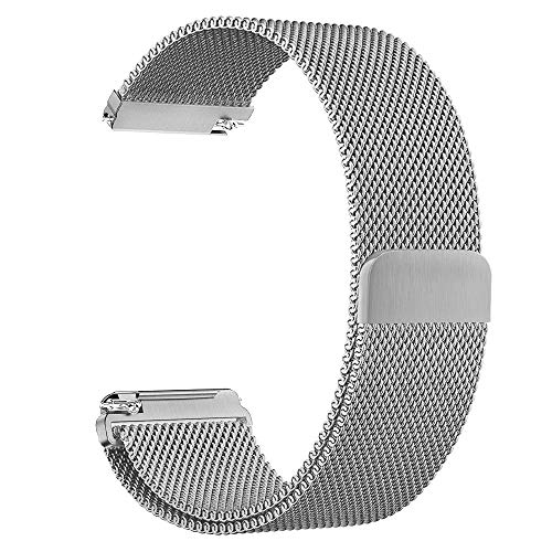 GOSETH Compatible with Pebble time 22mm Mesh Stainless Steel Band Replacement Accessories Compatible with Pebble Time/Pebble Time Steel/Samsung Gear S3 Frontier/Classic/TicWatch Pro (Silver)