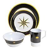 Galleyware Black Compass 24 Piece Melamine Non-Skid Dinnerware Set