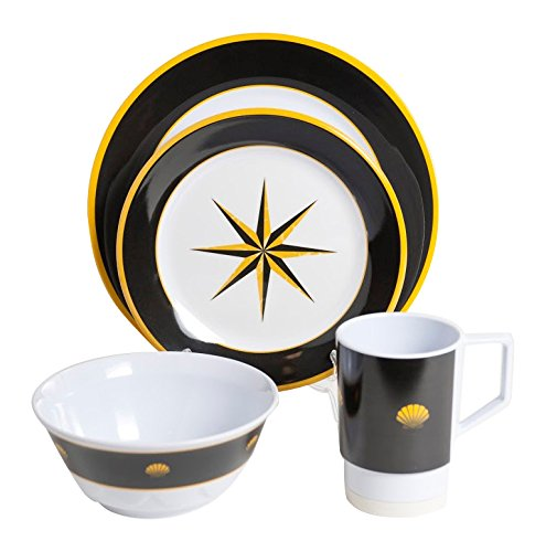 Galleyware Black Compass 24 Piece Melamine Non-Skid Dinnerware Set