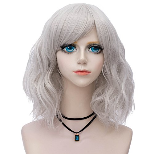 (Probeauty Sweety Collection Lolita 40CM Short Curly Women Lolita Anime Cosplay Wig + Wig Cap (Silver Grey))