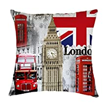 Retro London Union Jack Big Ben Polyester Throw Pillow Case Cushion Cover Home Sofa Decorative 14 X 14 Inch