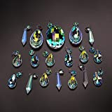 H&D 18pcs Colorful Lamp Prisms Parts with Octagon Bead Chandelier Glass Crystals Hanging Drops Pendants
