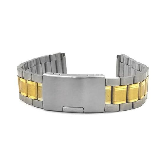 rico y magnífico estilos frescos ropa deportiva de alto rendimiento Correa para reloj pulsera plana de acero dorado Ansa 18 mm ...
